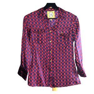 NWT Elizabeth McKay   Button Down Silk Shirt